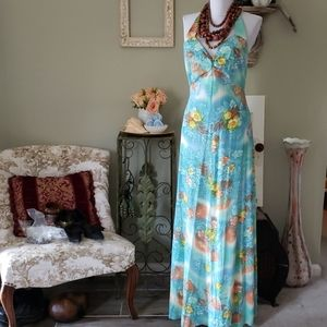 Vtg Early 70's Hawaiian halter dress.